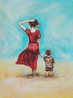 """Mother Son Child Painting Mother Little Boy Brother Sibling Toddler Beach Mom """"My Little Champ"""" Leslie Allen Fine Art"""