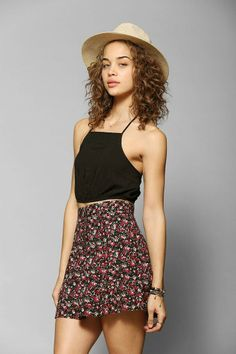 Pins And Needles Smocked-Bottom Cropped Halter Top #urbanoutfitters
