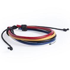 Pulsera ajustable de polipiel con 5 cintas multicolor, especialmente diseñada para marcaje en tampografía. Ajustable
