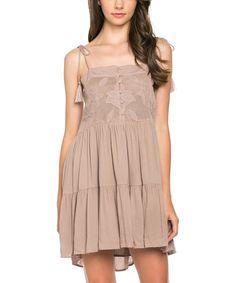 Mittoshop Mocha Tassel Button-Front Dress | zulily