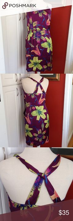 "Banana Republic Silk Dress Banana Republic Tropical ""Silk"" Dress. Size 10. Material: 100% polyester. RN54023. Features: open back, side pockets, side zipper. Measurements: bust: 17.6"", length: 38"". Pre-loved, no flaws seen. Banana Republic Dresses Midi"
