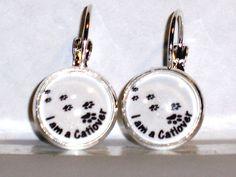 Ohrringe Pfote Tier Tatze Katze Damen Hänger Ohrschmuck Modeschmuck Glas