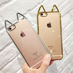 Cute 3D Ear Cat Cover Electroplating Crystal Clear Capa Soft TPU Phone Cases Cover For iPhone 7 7Plus 5 5G 5S SE 6 6G 6S 6Plus-in Phone Bags & Cases from Phones & Telecommunications on Aliexpress.com | Alibaba Group #IphoneCases