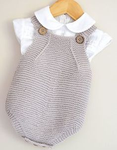 This sweet little set would be suitable for the Spring baby. Rompers and jacket - which is a sideways knit - is completed in simple garter stitch and would be suitable for the advanced beginner knitter. Minimal seaming is involved.: