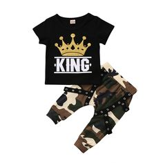 Pudcoco Baby boy clothes 2018 New Spring Summer King short sleeve t shirt + Camo long pants 2pcs suit kids clothes-in Clothing Sets from Mother & Kids on Aliexpress.com | Alibaba Group