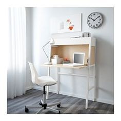 IKEA - IKEA PS 2014, Secretary, white/birch veneer, , Cable outlets for easy cable management.It's easy to keep a clean look by folding up the leaf on the secretary to hide away your work.