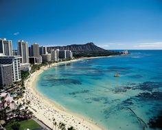 The best Waikiki Beach view from Deluxe Ocean Front Room of Sheraton Waikiki - Oahu Hawaii Sheraton Waikiki, Waikiki Beach, Vacation Destinations, Dream Vacations, Vacation Spots, Vacation Packages, Vacation Travel, Family Vacations, Vacation Places