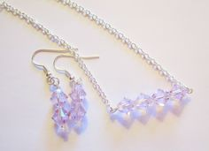 Swarovski Elements Necklace and Earring Set Bicone Necklace You Choose Color Gift Set for Her Silver Plate Chain 24 Inch by WhispySnowAngel on Etsy