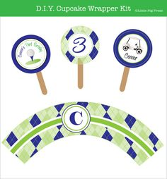 Golf Party  Printable Cupcake Topper and Wrapper by LittlePigPress, $12.00