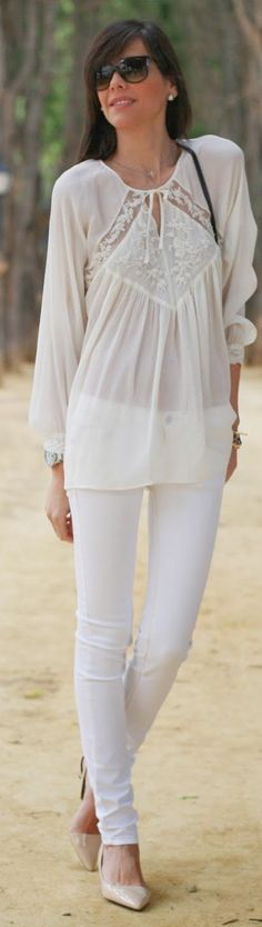Zara White Women's Embroidered Detail Sheer Blouse by Be Trench