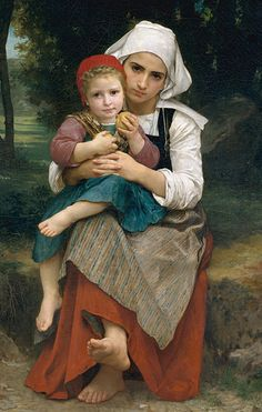 """Breton Brother and Sister"" - William-Adolphe Bouguereau (French, 1825–1905), oil on canvas, 1871 {neoclassicism master realism artist young female apple little boy children cropped painting #nineteenthcentury #arthistory #loveart} <3 bouguereau.org"