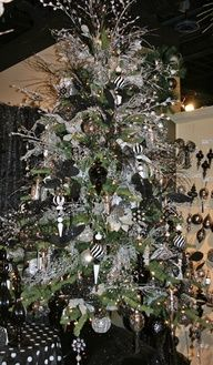 Black and White Decorated Christmas Tree.