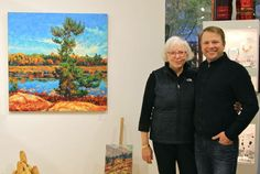Dominik Modlinski at Mountain Galleries in Whistler  with owner Wendy Wacko  during artist demo. https://www.facebook.com/pages/Mountain-Galleries/198382838938 #home #art #painting #design