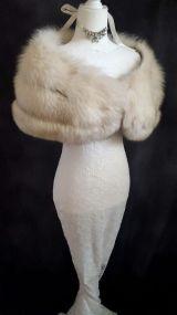 Norwegian Fox Fur Stole , Bridal Fur Bolero , Real Fur Shawl , Winter Bridal Fur, Luxury Vintage Fur
