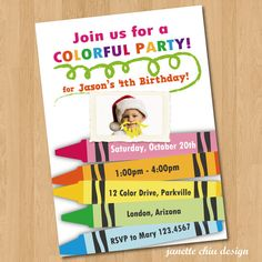 Crayon Birthday Party Photo Invitation DIY Digital by JanetteChiu, $15.00