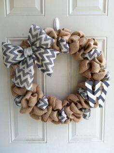 Burlap/chevron wreath