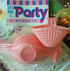 Vintage / Pink Party Favor Nut Cups / Set of by chocolateletters