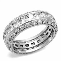 Princess & Round Cut Russian Lab Diamond Wedding & Eternity Ring is styled with details to SPARKLE!  This ring is exclusively designed with micro-pave,