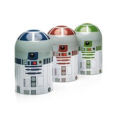 Keep your secret ingredients safe from the Empire with this set of three astromech droid kitchen tins! Coffee, tea, sugar, flour, evaporated blue milk, or even kitchen utensils - these little guys can hold it all.