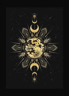 Longest Night Longest Night art print in gold foil and black paper with stars and moon by Cocorrina Moon Design, Design Art, Bild Gold, Tattoo Sonne, Moon Art, Black Paper, Stars And Moon, Sun Moon, Cute Wallpapers