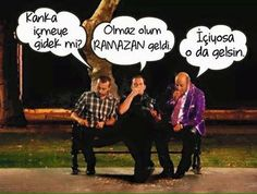- Kanka içmeye gidek mi?  + Olmaz olum RAMAZAN geldi.  - İçiyorsa o da gelsin.   #karikatür #mizah #matrak #komik #espri #şaka #gırgır #komiksözler #ramadan #ramazan #oruç