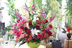 周年祝い アレンジメント バラ ユリ アルストロメリア