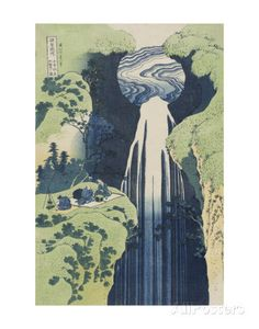The Amida Falls in the Far Reaches of the Kisokaidô Road Posters by Katsushika Hokusai at AllPosters.com