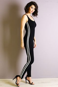 Sleeveless Jersey Material Catsuit Side Vertical Stripe Detail with Pink Color Scoop Back 95% Rayon 5% Spandex Do Not Bleach Hang or Line Dry - All Models are wearing a size SMALL - (Black-Pink) Model