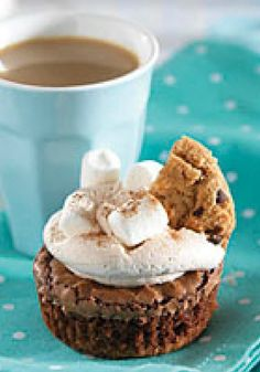 Hot Chocolate-Brownie Cupcakes – Hot chocolate? Brownie? Cupcake? You can have all three in one yummy dessert! And, believe it or not, there's even a chocolate chip cookie garnish.