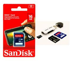 New SanDisk 16GB SDHC SD Memory Card for Digital Camera & Camcorder+Card Reader #SanDisk