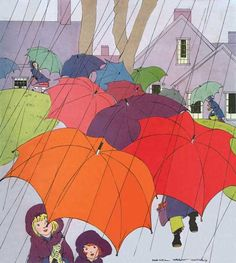 Childhood Illustrator: Maginel Wright Barney Imprint: Laughing Elephant Rain Sisters Umbrellas'