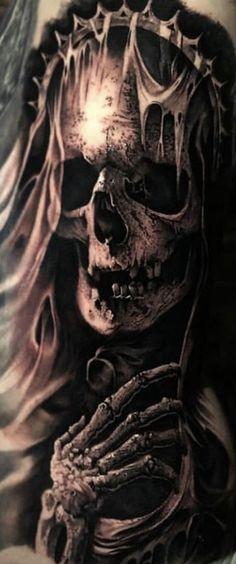 Evil Skull Tattoo, Evil Tattoos, Skull Sleeve Tattoos, Scary Tattoos, Black Ink Tattoos, Skull Tattoo Design, Head Tattoos, Grim Reaper Art, Grim Reaper Tattoo