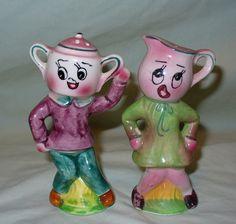 Vintage Anthropomorphic Dancing Cream & Sugar Salt Pepper Shakers