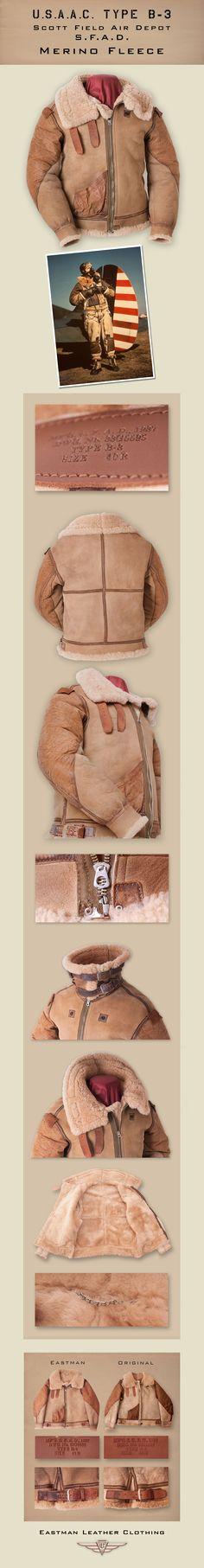 Eastman Leather Clothing - US Flight Jackets : Original Maker Jackets : B-3sfad.