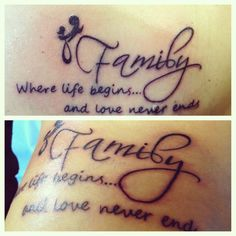Mother/Daughter matching tattoos  Family-can't get any better than that<3