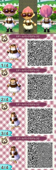 Animal Crossing New Leaf steampunk dress QR code @Eliyah Payne Payne Payne Franson haha I have no idea why I'm seeing more and more of these now, but I feel the need to share them with you cause I guess maybe you'll like them?