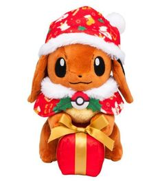 Pokemon Center Eevee having a xmas present box Plush Doll Japan Standard Ship