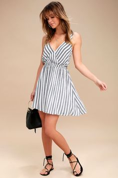 a9af8eceb88696 Oceanside Adventure White Striped Backless Skater Dress