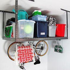 Shop MonsterRax 4' x 6' Overhead Garage Storage Rack - Overstock - 11098657 Overhead Storage Rack, Garage Storage Racks, Storage Shelves, Storage Organization, Storage Ideas, Space Saving Storage, Laundry In Bathroom, Home Improvement, Shop