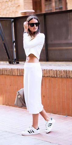 All-white outfit with Adidas sneakers // #NYFW #StreetStyle