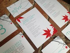 Japanese Maple DIY Printable Wedding Invitation Suite by Fira Printables on Etsy