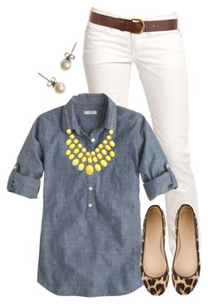 White pants, denim shirt, statement necklace, brown belt, and stud earrings. I have this outfit sitting in my closet and never put the pieces together! Mode Outfits, Fall Outfits, Summer Outfits, Casual Outfits, Teaching Outfits Summer, Casual Friday Work Outfits, Spring Outfits Women Casual, J Crew Outfits, Work Fashion