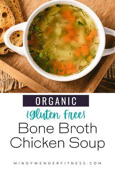 Chicken Bone Broth Recipe, Bone Broth Soup, Chicken Soup Recipes, Crockpot Recipes, Gluten Free Soup, Gluten Free Chicken, Healthy Soup, Healthy Recipes, Free Recipes