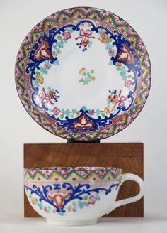 These colours are vibrant and bright, having a strong barge ware influence. Condition: No chips or cracks. Good ring to both cup and saucer. Date c1895. Over painted enamel colour over a red under glaze transfer print. | eBay!