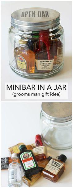 Mini Bar In A Jar Gift - 35 Unique DIY Mason Jar Gifts for Everyone - I Heart Crafty