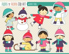 Winter Kids Clip Art - scheme B - color and outlines $