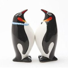 "We all know that penguins mate for life, but our ceramic (4"" tall) Mr. and Mrs. Penguin Salt and Pepper Shakers have another reason to stick together, they each have magnets on their bellies to keep t"