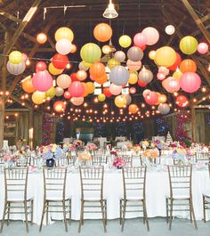 Fun colored paper lanterns and string lights