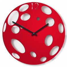 Red Moon Clock Moon Clock, Wall Clock Design, Clock Wall, Red Moon, Red Candy, Silhouette Art, Science Art, Home Accessories, Polka Dots