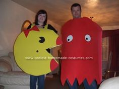 Homemade Ms. Pac Man and Blinky the Ghost Couple Costume: